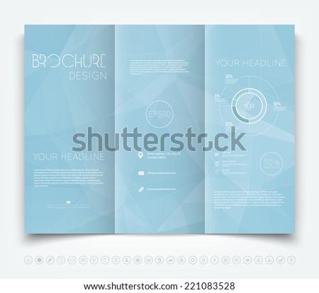 Vector modern tri-fold brochure design template with light blue polygonal background