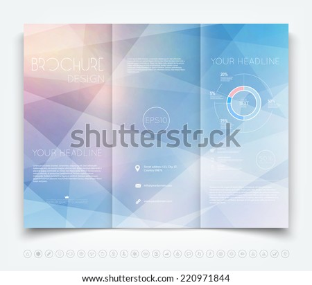 Vector modern tri-fold brochure design template with light geometric background