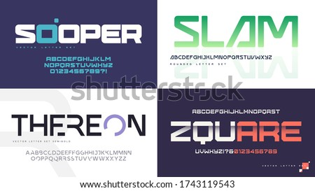 Vector modern uppercase letter sets with a different styles.