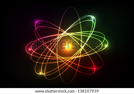 Vector molecule of atom. Looks like plasma, neon or laser. Isolation over dark background.