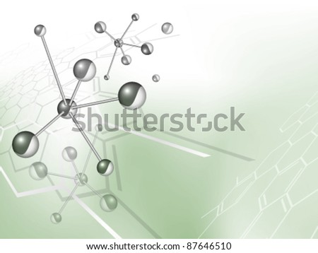 Vector molecule structure background with chemical formula against blue green backdrop with gradient to white - medical pattern