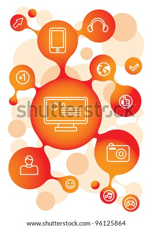 vector molecule structure in orange color with social media icons
