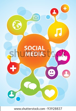 vector molecule structure in rainbow  colors with social media icons