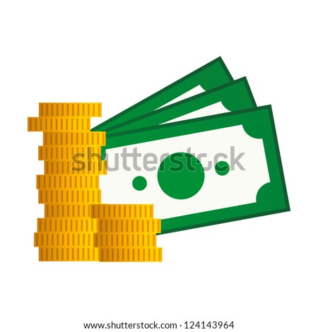 vector money bills and coins icon