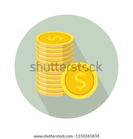 Vector money Icon. Payment system. Coins and Dollar cent Sign isolated on white background. Flat design style. Business concept