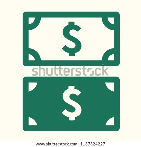 Vector money icon set of banknotes of American dollar. US Dollar Bills in flat style.