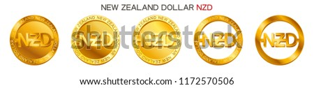 Vector money New Zealand Dollar sign (New Zealand Dollar coin icon) isolated on white background. Golden NZD coin symbol design, New Zealand currency (banking concept illustration)