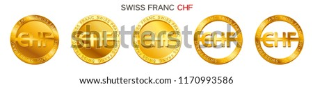 Vector money Swiss Franc sign (Swiss Franc coin icon) isolated on white background. Golden CHF coin symbol design, Swiss National Bank currency (banking concept illustration)