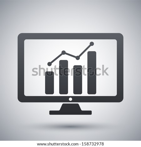 Vector monitor with business graph on the screen icon