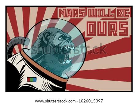 vector monkey astronaut mars
