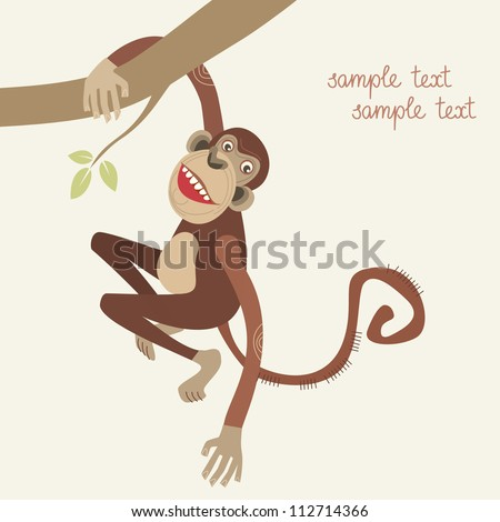 Vector monkey hanging from a tree branch. Abstract color Illustration ...
