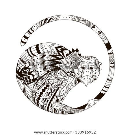 vector monkey style zentangl