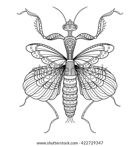 Vector Monochrome Decorative Indian Flower Mantis. Drawing Mantis Isolated On Transparent Background. Zentangle Style