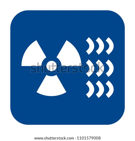 Vector monochrome flat design icon of industrial radiography.  Blue isolated roentgenography symbol.