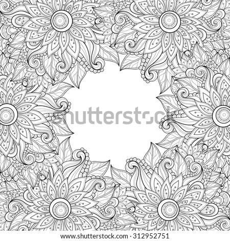 vector monochrome floral