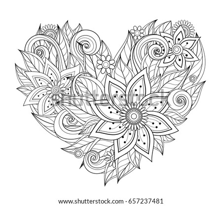 Vector Monochrome Floral Composition In Heart Shape Hand Drawn Ornament With Flowers Beautiful Doodle Fantasy Coloring Pages