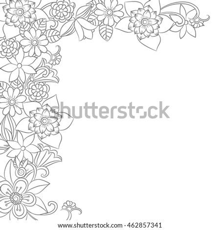 Vector monochrome flower frame corner floral elements in black and vector monochrome flower frame corner floral elements in black and white mightylinksfo