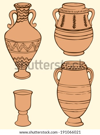 Vector monochrome hand-drawn picture of ancient vases and bowls painted geometric ornament isolated on a light yellow background