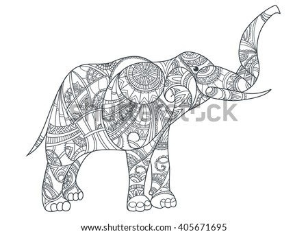Royalty Free Elephant Coloring Page Graceful And 386105014 Stock Photo