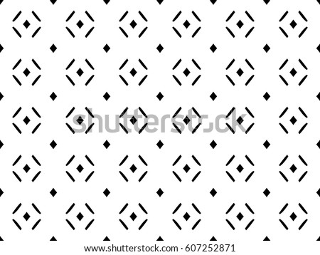 Vector monochrome seamless pattern, abstract minimalist geometric background with tiny rhombuses and lines. Black & white modern texture. Light design for prints, decor, textile, furniture, wrapping