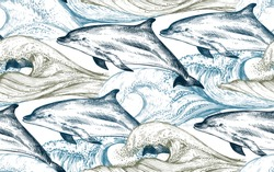 Vector monochrome seamless pattern with ocean waves and dolphins in sketch style. Underwater world. Hand drawn graphic endless background