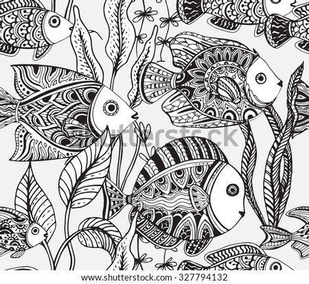 Vector Monochrome Seamless Sea Pattern With Tropical Fishes Algae Corals Underwater World