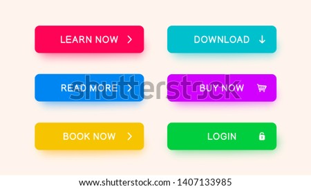 Vector monochrome web-buttons red, blue, yellow, purple, green color. Colored buttons with falling shadows for web design, apps and more. #1407133985