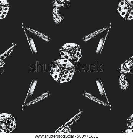 vector monochrome white color hand drawn engraving dice cutthroat straight razor revolver pistol illustration on black isolated background deco seamless pattern