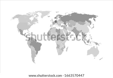 Vector monochrome world map, atlas background isolated o white, gray map template with geographic borders, abstract graphic backdrop.