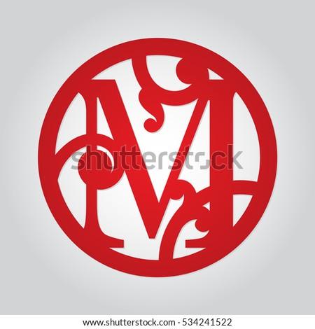 vector monogram m in round