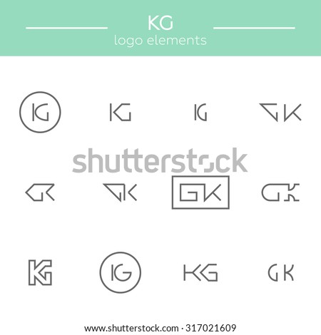 Vector monogram of K and G letters. Template for logo of an architect or other occupation Stock fotó ©
