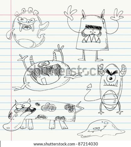 Vector monster doodles on a notebook paper. Set number 1