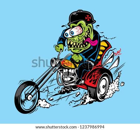 VECTOR MONSTER GREASER HOTROD ILLUSTRATION BIKERS RAT FINK STYLE VINTAGE MOTORCYCLE CHOPPER POSTER Stock fotó ©