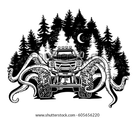 Vector Monster Truck With Tentacles Of The Mollusk And Night Landscape Mystical Animal Car Tattoo
