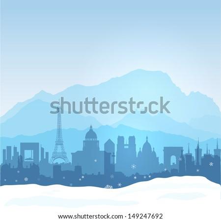 Vector Mont Blanc with Paris et Lyon silhouettes