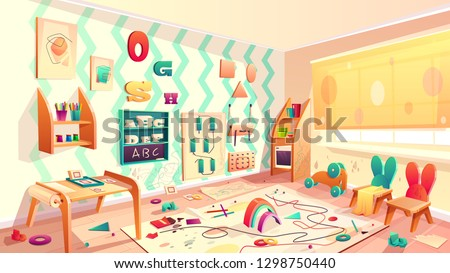 Vector montessori room with paint blots, elementary school with rubbish. Kindergarten for infants, daycare for kids. Primary education in drawing, games and activity.Preschool classroom with furniture