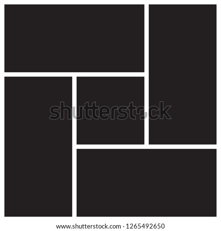 Vector mood board of four frames. Photo collage templates.