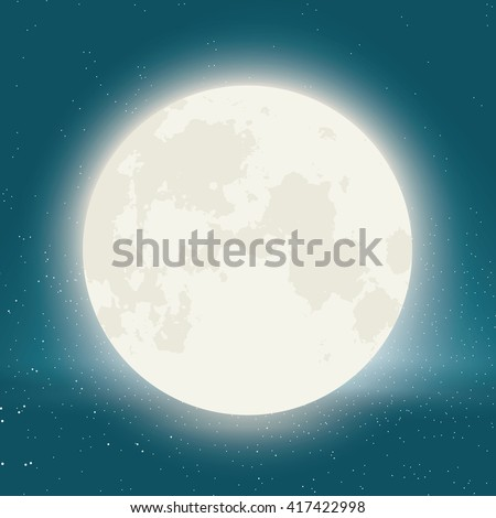 vector moon with stars in