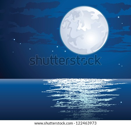 Vector moonlit path on the sea - stock vector