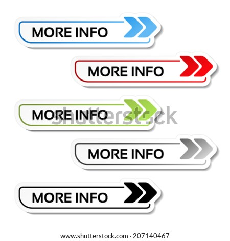 Vector more info buttons with arrows - labels on the white background Stock photo ©