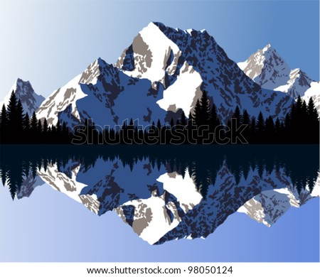 vector morning in beautiful mountains lake