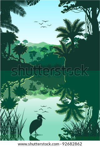 Vector Morning in Jungle Lake with Heron