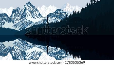 vector morning lake hallstatt