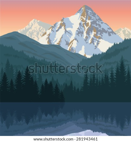 vector morning lake in mountains