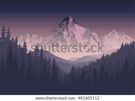 vector morning mountains