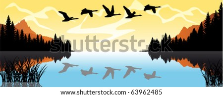 vector morning on lake with swans in mountains