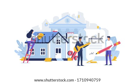 Vector Mortgage Loan Illustration Concept. House loan, money investment to real estate. Property money investment contract. Buying Home. Man and woman calculates home mortgage rate. Real estate agent.