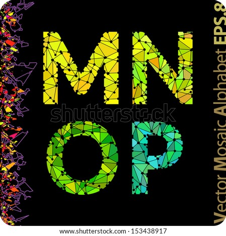 Vector mosaic alphabet. The letters M, N, O, P. Eps8.