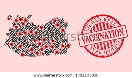 Vector mosaic Ciudad Real Province map of flu virus, vaccination icons, and red grunge vaccination seal stamp. Virus cells and treatment needles inside Ciudad Real Province map. Foto stock ©