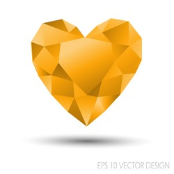 Vector Mosaic Heart.Template for Valentines Day Design.Abstract polygonal for Love symbol with orange color on white background.Geometric rumpled triangular style graphic illustration.
